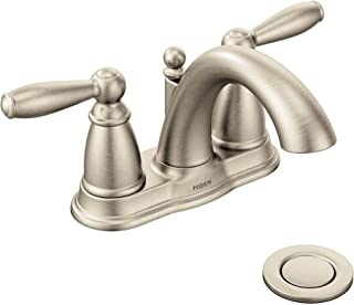 Best Moen 6610BN Brantford Two-Handle Low-Arc Centerset Bathroom Faucet with Drain Assembly, Brushed Nickel Review