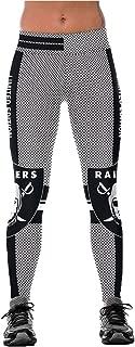 Ladys Raiders Printed Gym Running Leggings Black/White S