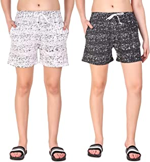 Kiba Retail Casual Wear Cotton Check/Printed Shorts for Women's and Girl's Pack of 2 {Size-26, 28, 30, 32, 34}Color-Multicolor