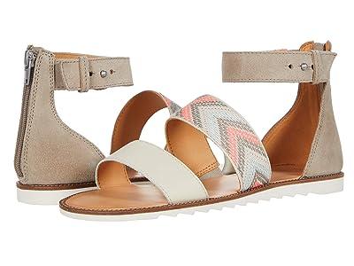 FRYE AND CO. Port 2 Band Sandal (Peach Multi Suede/Multi Arrow Webbing/Waxed Leather) Women