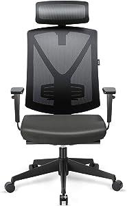 INTEY Sedia Ufficio altezza regolabile, Sedia Direzionale ergonomica per ufficio con funzione di inclinazione e Fodera in nero, Capacità massima di carico fino a 150 KG