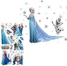 Kibi 2PCS Stickers Infantiles Frozen Adhesivos Pared Decorativos Pegatinas De Pared Frozen Para La Habitación Niños Decoración De Pared Dormitorio Bebe Pegatinas De Pared Extraíble