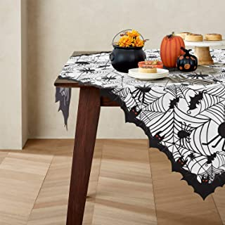 ASPMIZ Halloween Tablecloth, Black Spider Web Table Cloth, Bat and Cobweb Scary Themed Tablecloth, Machine Washable Tablec...