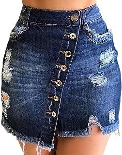 Ophestin Jean Skirts for Women - Button Up A Line Skirt Denim Short Skirt Denim Skirts