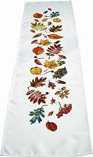 khevga Camino de mesa otoño decoración de mesa hojas blancas impresas 40 x 140 cm