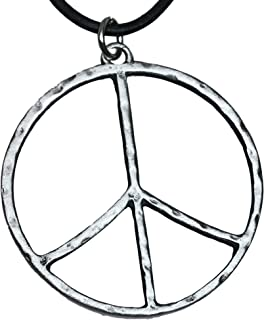 Trilogy Jewelry Pewter Hammered Peace Sign Large Pendant on Leather Necklace