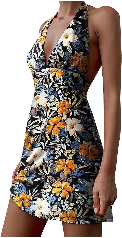 Summer Dresses for Women Vintage Flower Graphic Sundress Casual Midi Skirt V Neck Cocktail Dress Backless Slim Gowns