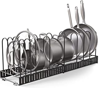 Vdomus extensible pot rack organizer with 4 DIY methods, length adjustable and max extended to 31 inches 13+ pans holder, ...