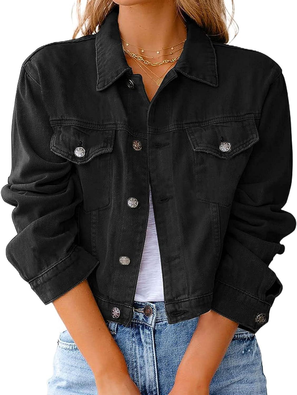 Women Button Down Denim Shirt Loose Denim Jacket,Solid Color Long Sleeve Open Front Vintage Jean for Teen Girls