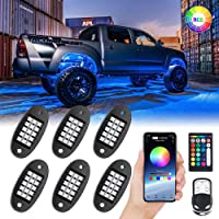 6-Pack MustWin RGB LED Rock Lights with APP & RF Control