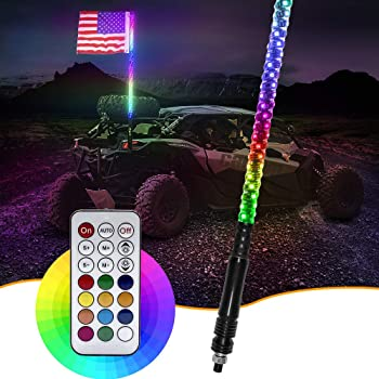 Niwaker 5ft LED Whip Lights with Flag RF Remote Control Spiral Chasing Light RGB Dancing Lighted Whips Antenna LED Whips for UTV ATV Truck Jeep Polaris Off Road RZR Buggy Dune 4X4 Can-am