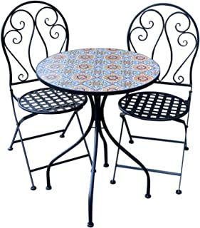 Patio Setting Siena Mosaic Metal 3 Piece Bistro Balcony Garden Furniture Outdoor Home Decor