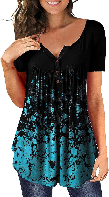 BOXIACEY Womens V Neck Tops Short Sleeve Summer Casual Blouse T-Shirt Loose Funny Printing T-Shirts