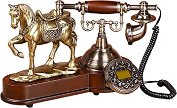 $178 » VERDELZ Fixed Landline Telephone Retro Button Dial Corded Phone Telephone with 3D Horse Model Caller Id Screen Blue Light ...