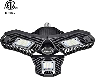 Retinabc, Black, LED Ceiling Lights Deformable 60W 6000LM 6000K for Garage (No Motion Activated)