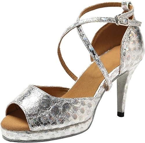 Qiusa GL225 Plateforme Synthétique Tango Latin Salle de Bal Chaussures de Danse Professionnelles Sandales de Bal (Couleuré   argent-8.5cm Heel, Taille   3.5 UK)