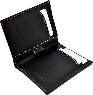 Cartera Billetera Delgada Negra para Hombre - Cuero Genuino Natural - Bloqueo RFID - 11 Tarjetas de Crédito, Monedero y Bi...