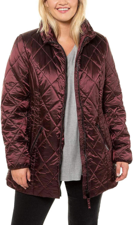 Ulla Popken Womenswear Plus Size Curvy Oversize Shimmering Diamond Quilted Fully Lined Jacket Aubergine 16/18 723696 83