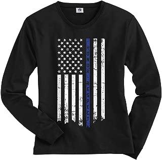 Threadrock Women's Honor & Respect Thin Blue Line Flag Long Sleeve T-Shirt