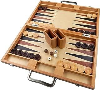 Duboce Inlaid Walnut, Beech, Sapele, and Bass Wood Backgammon Board Game, Large 17 Inch Set