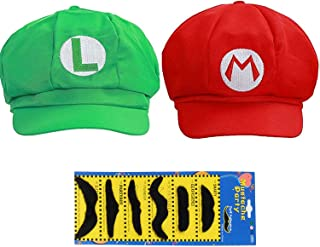 TISOSO Super Role Play Bros Hat Adult Kids Mario Luigi Wario Waluigi Unisex Cosplay Cap 2Pcs