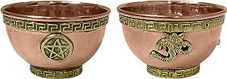 diollo Pentagram Altar and Om Copper Offering Bowl Rituals Smudge Incense Decoration