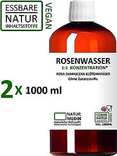 ROSENWASSER 2x 1000-ml Gesichtswasser, 100% naturrein, 1:1 Konzentration, Rosa damascena Blüttenwasser, ohne Zusatzstoffe, PET Braunflasche, 2000-ml 2-l, nachhaltig