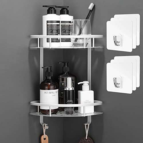 Flowmist 2 Tiers Corner Shower Caddy, Shower Organizer, Wall Mounted Aluminum Shower Shelf with Adhesive(No Drilling)...