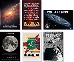 Set of 6 Science Space Themed Classroom Poster Inspirational Motivational Educational Astronomy Room 12x18 inch