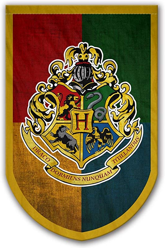 Harry Potter Style Banner Hogwarts Flag 37x24 In Printed On Both Sides Durable Enough For Outside Conditions Perfect Barware Man Cave Gift Unique HP Collectible Accessories