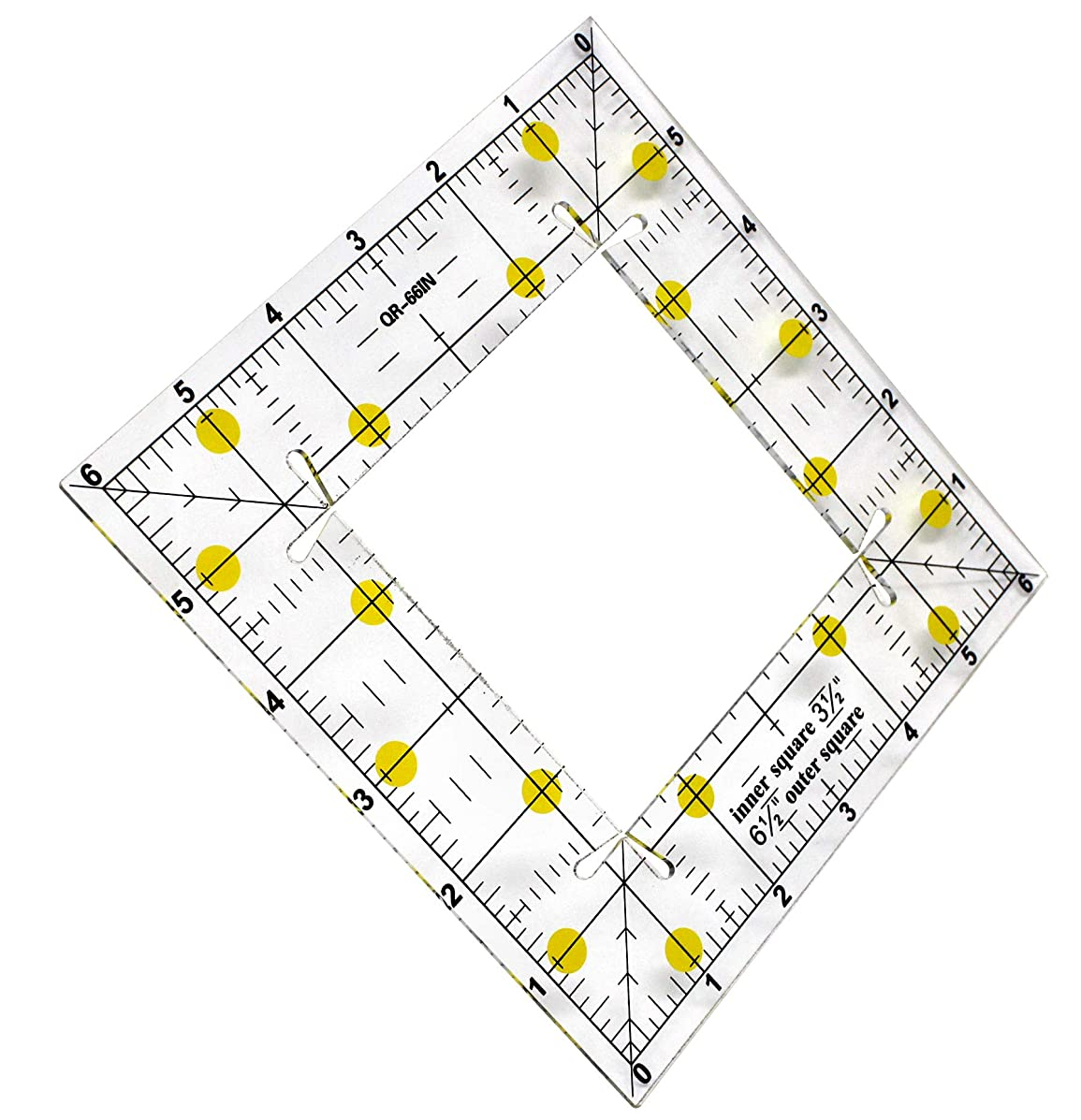 VViViD Clear Acrylic Square Fabric Ruler 4 Inches Inner / 6.5 Inches Outer