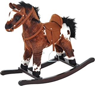 Qaba Kids Metal Plush Ride-On Rocking Horse Chair Toy with Realistic Sounds - Dark Brown/White