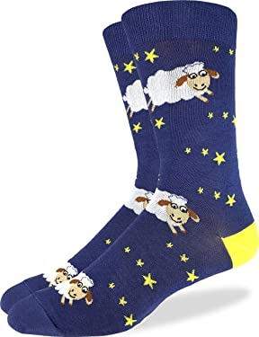 Good Luck Sock Men's Counting Sheep Socks - Blue, Adult Shoe Size 7-12