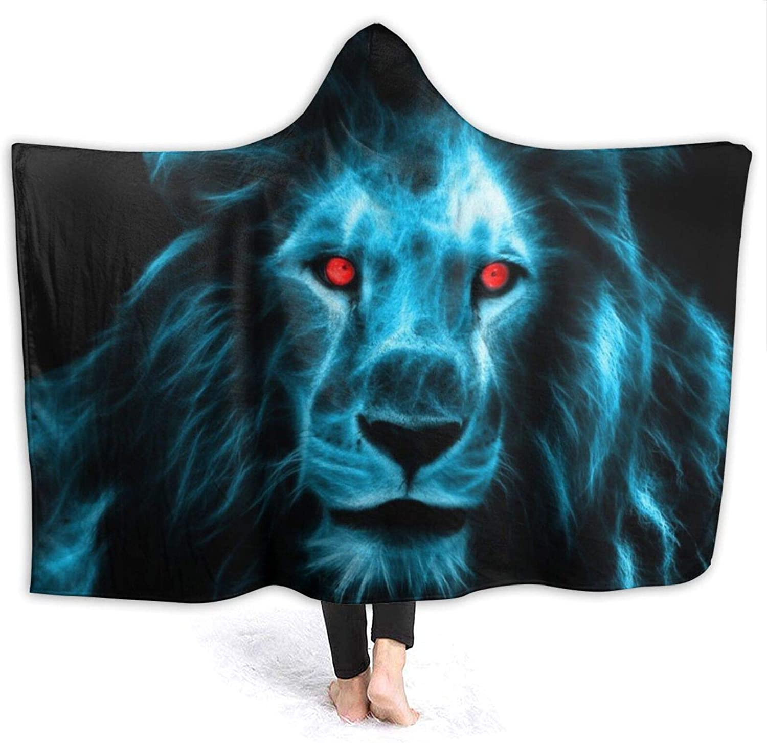 Abstract Blue Lion Hooded Air Outlet ☆ Free Shipping Blanket Throw Now on sale Conditioning