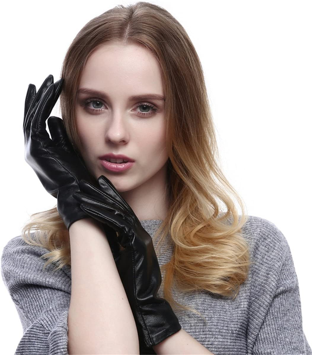 Qhome Women's Touchscreen Texting Driving Winter Warm Nappa Leather Gloves