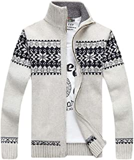 Howely Mens Cardigan Stand-up Collar Jacquard Knit Loose Fit Cardigan
