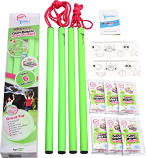 WOWMAZING Mega Value Big Bubble Kit: 2 Large Bubble Wands 6-Pack of Big Bubble Powder (Makes 6 Gallons)   Outdoor Toy for ...