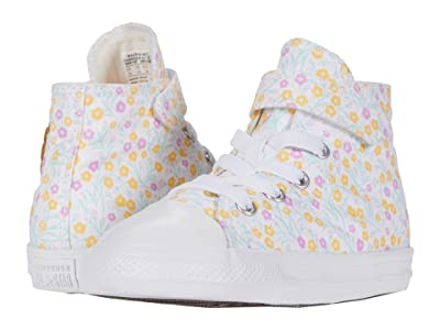 Converse Kids Chuck Taylor(r) All Star(r) 1V Floral (Infant/Toddler) (White/Topaz Gold/Peony Pink) Girl