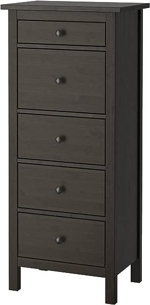 IKEA 403 604 15 Hemnes 5 Drawer Chest Black Brown