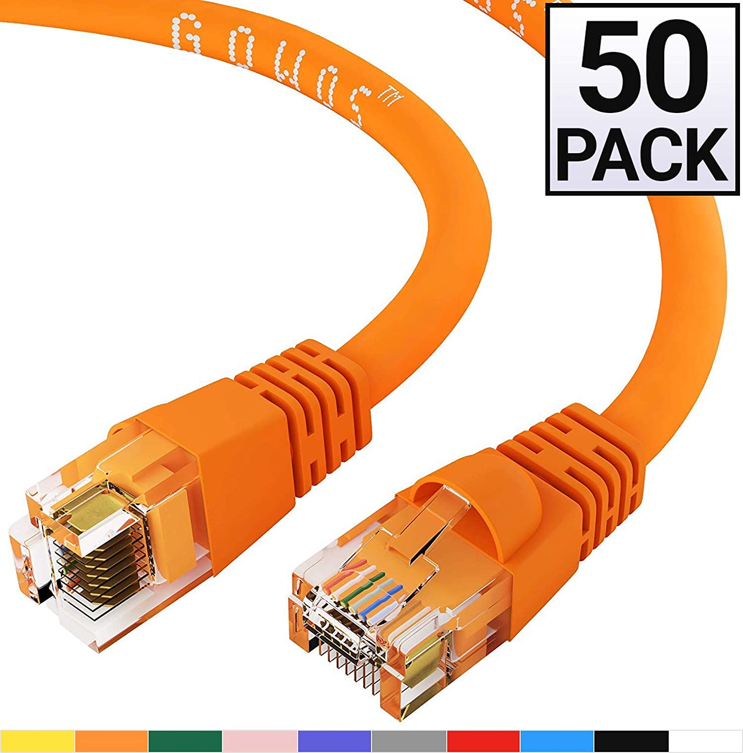 RJ45 10Gbps High Speed LAN Internet Patch Cord Cat6 Ethernet Cable 2 Feet - Green Computer Network Cable with Snagless Connector Available in 28 Lengths and 10 Colors UTP GOWOS 50-Pack
