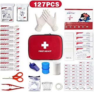 Small First Aid Kit, 127Pcs Mini Compact Travel Hard Case First Aid Kit Medical Trauma Kit Bag Includes Emergency Blanket, CPR Mask for Home, Car, School, Office, Outdoor Hiking, Camping, Survival