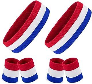 Homfshop 2 Sets Striped Sweatbands Set, 2 Pieces Sports Headband and 4 Pieces Wristbands Sweatbands Colorful Cotton Stripe...