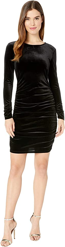 Long Sleeve Ruched Bodycon Open Back Velvet Dress