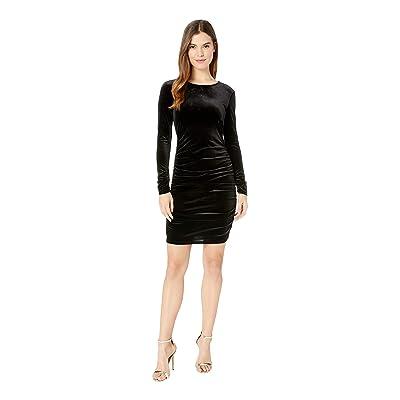 1.STATE Long Sleeve Ruched Bodycon Open Back Velvet Dress (Rich Black) Women