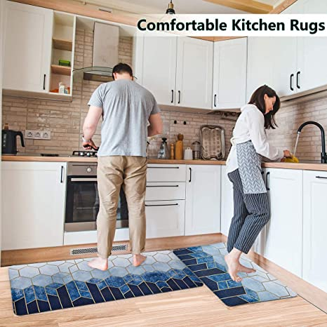 Amazon Com Kitchen Rugs Anti Fatigue Mat Set Of 2 Pvc Waterproof Non Slip Cushioned Floor Mats Memory Foam Kitchen Rugs And Mats For Sink Office Desk Laundry Blue Kitchen Dining