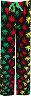 Underboss Men's Rasta Themed Ganja Weed Leaf Cozy Plush Loungepants