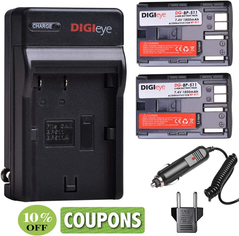 BP-511 BP511 5% Max 54% OFF OFF Battery 2-Pack and US for BP-5 Plug Charger Canon