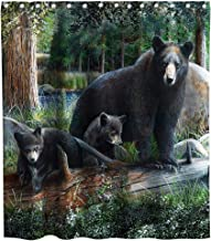 Final Friday Funny Rustic Black Bear & Cubs Family Theme Fabric Shower Curtain Sets Kids Bathroom Decor with Hooks Waterproof Washable 70 x 70 inches Green and Brown