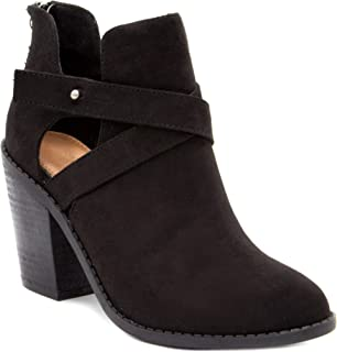 Sugar Women's Venti Transitional Block Heel Ankle Boot Ladies Bootie with Criss Cross Straps and Back Zip
