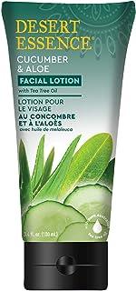 Desert Essence Facial Lotion - Cucumber & Aloe w/Tea Tree Oil - 3.4 Fl Oz - Moisturizes, Protects & Softens Skin - Aloe - ...